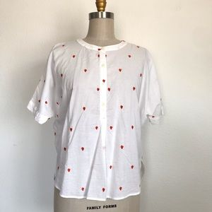 Loft MP rooster embroidered cotton top